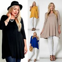Love In Plus Solid 3/4 Sleeve A-line Flowy Hi-low Piko Knit Tunic Usa Made 1x-3x