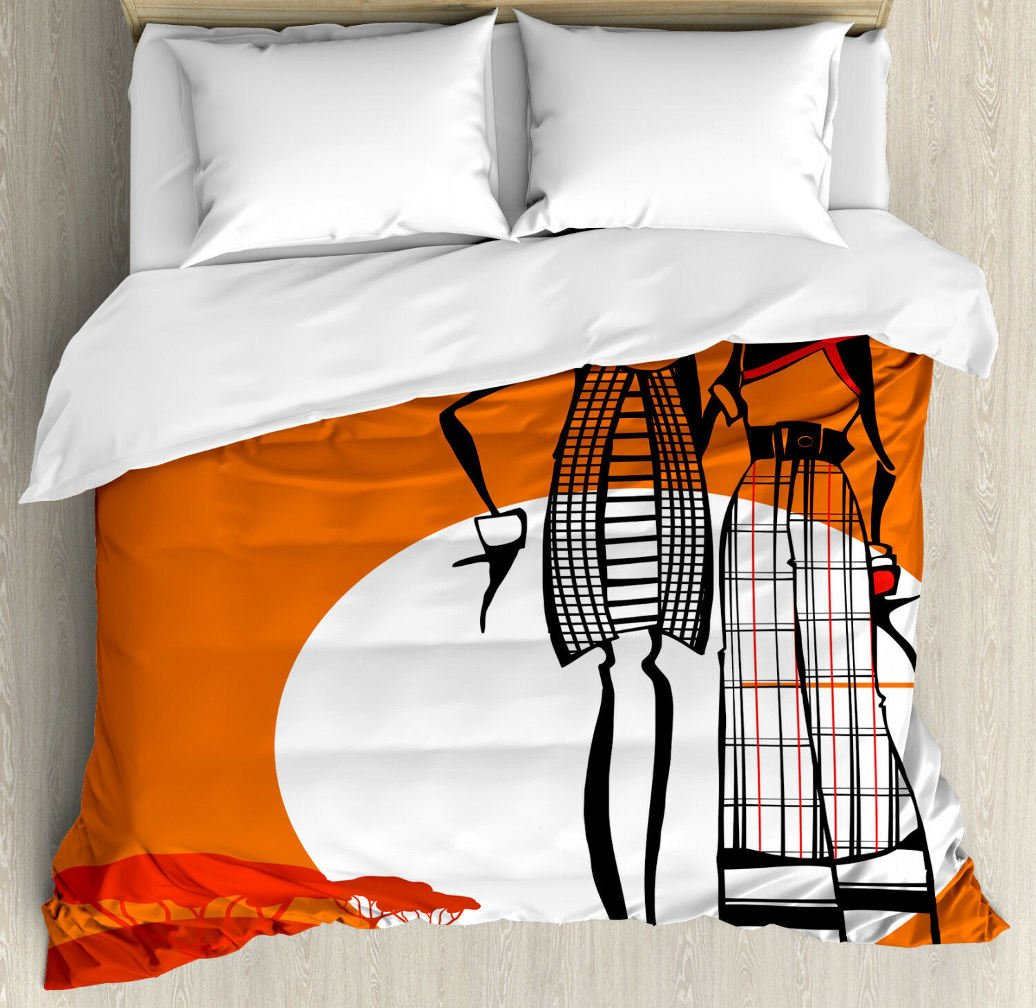 African Duvet Cover Set with Pillow Shams Stylish Women on Desert Print