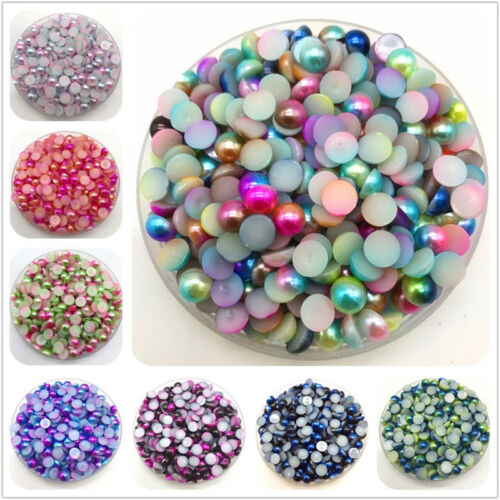 3//4//5//6//8mm Colorful Flat Beads Pearls Half Round Pearl Bead Flat Back Scrapbook