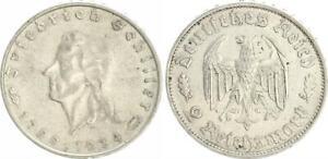Tercer Imperio 2 Marco Friedrich Schiller J. 358 1934 Para MBC/VF XF