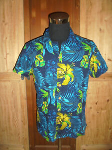 vintage-Hawaii-Hemd-hawaiihemd-coconut-buttons-Baumwolle-shirt-90s-surf-Gr-M