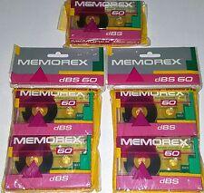 MEMOREX DBS 5 BLANK TAPE CASSETTE 60 Min SEALED Recording boombox ghettoblaster
