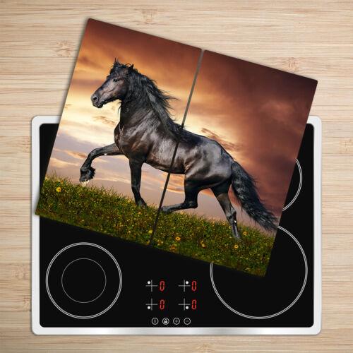 Glas-Herdabdeckplatte Ceranfeldabdeckung Zweiteilig 2x30x52 Pferd