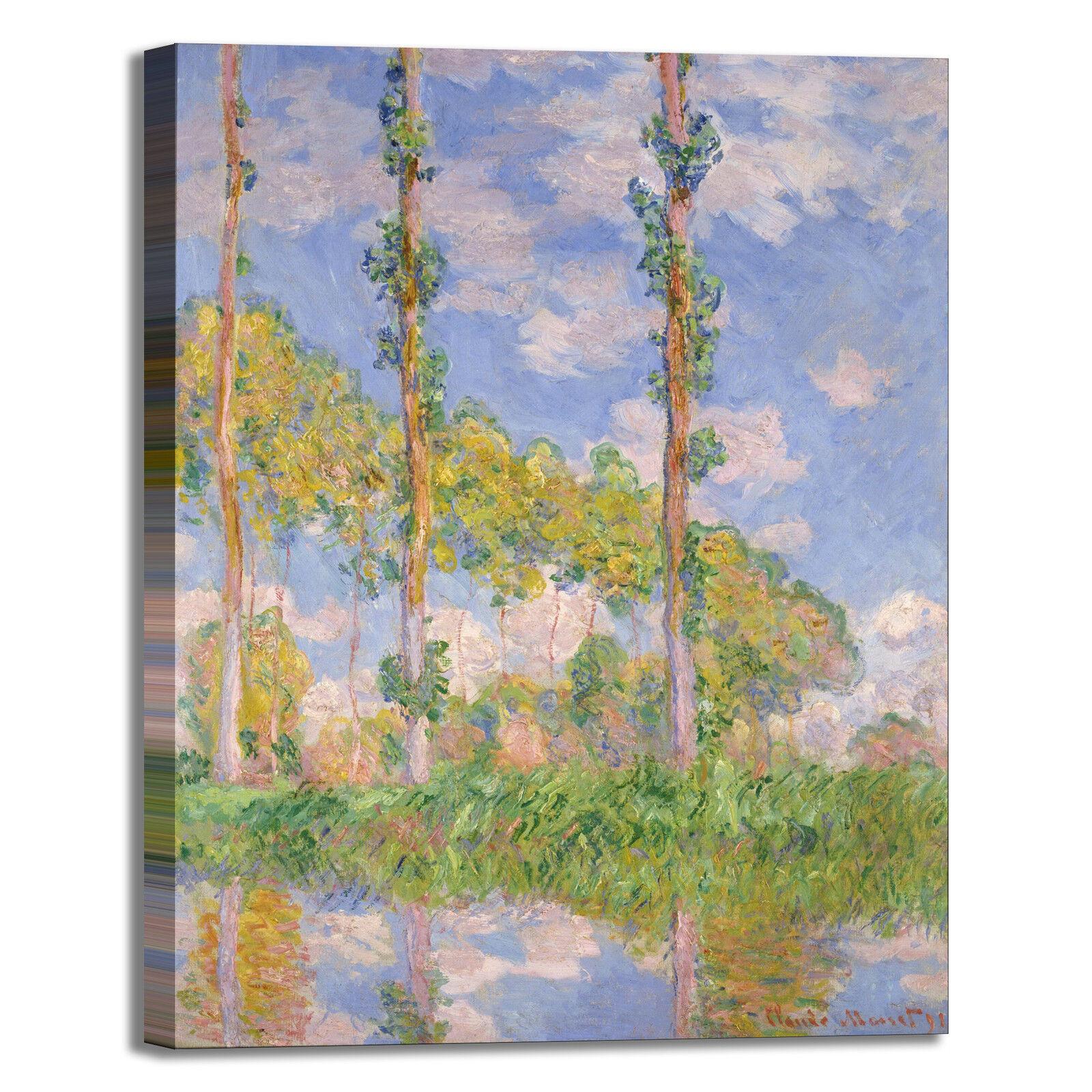 Monet pioppi nel sole design quadro stampa tela dipinto telaio arrossoo casa