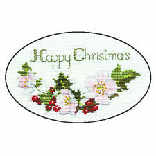 Derwentwater Designs Christmas Cross Stitch Card Kit - Christmas Roses