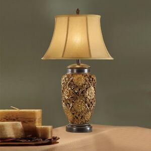 vintage gold bronze table lamp floral carved metal base beige fabric set of 2 ebay. Black Bedroom Furniture Sets. Home Design Ideas