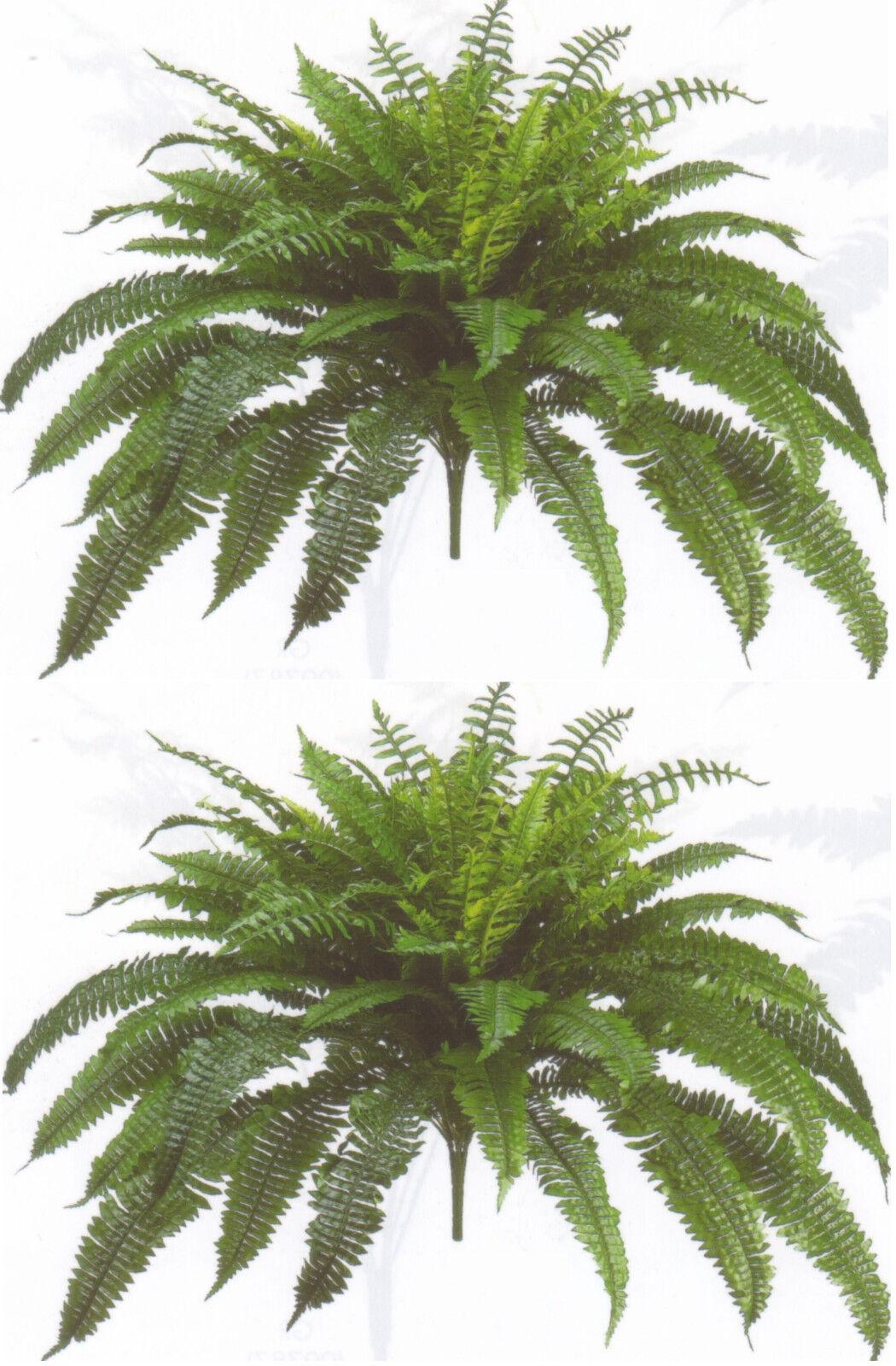 2 BOSTON FERN 48  SPREAD X 90 LEAF BUSH PLANT ARTIFICIAL TREE FLOWER SILK PALM