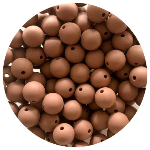 ESPRESSO 12mm SILICONE beads round BPA free baby DIY sensory nursing brown