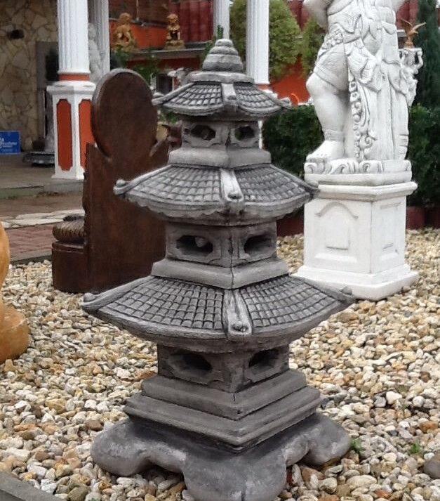 Gartendeko, Feng Shui, Steinguss, Skulptur, Japan Lampe XXL,93 cm Garten Laterne