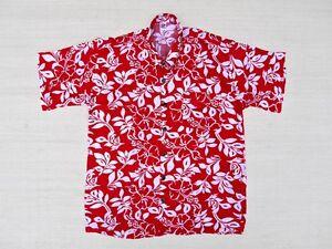 Camisa-Hawaiana-Camisa-rojo-hibisco-blanco