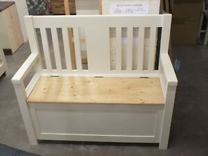 Wondrous Details About 114Cm Painted Slat Back Monks Bench Settle Pew Hand Made Fb Off White Andrewgaddart Wooden Chair Designs For Living Room Andrewgaddartcom