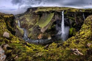 Haifoss-Waterfall-In-Iceland-Cloudy-Scenic-Photo-Art-Print-Poster-24x36-inch