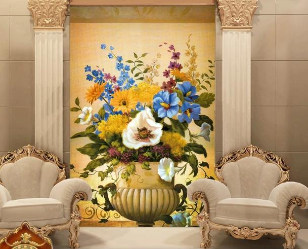 3D Schöne Blumen Korb 46 Tapete Tapeten Mauer Foto Familie Tapete Wandgemälde