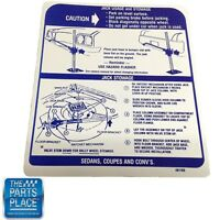 1970 Gto / Lemans / Tempest Jack Instructions Decal Dt65