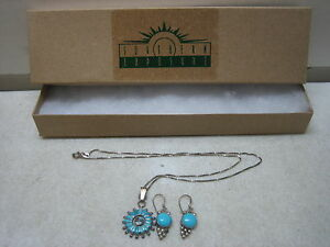 NAVAJO-INDIAN-SIGNED-STERLING-SILVER-NECKLACE-amp-EARRINGS-SET