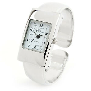Silver-Tone-Rectangle-Case-Easy-to-Read-Small-Size-Women-039-s-Bangle-Cuff-Watch
