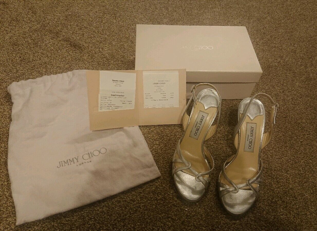 Genuine Jimmy Choo London Metallic Nappa Silber Heels Größe 36.5 UK 4