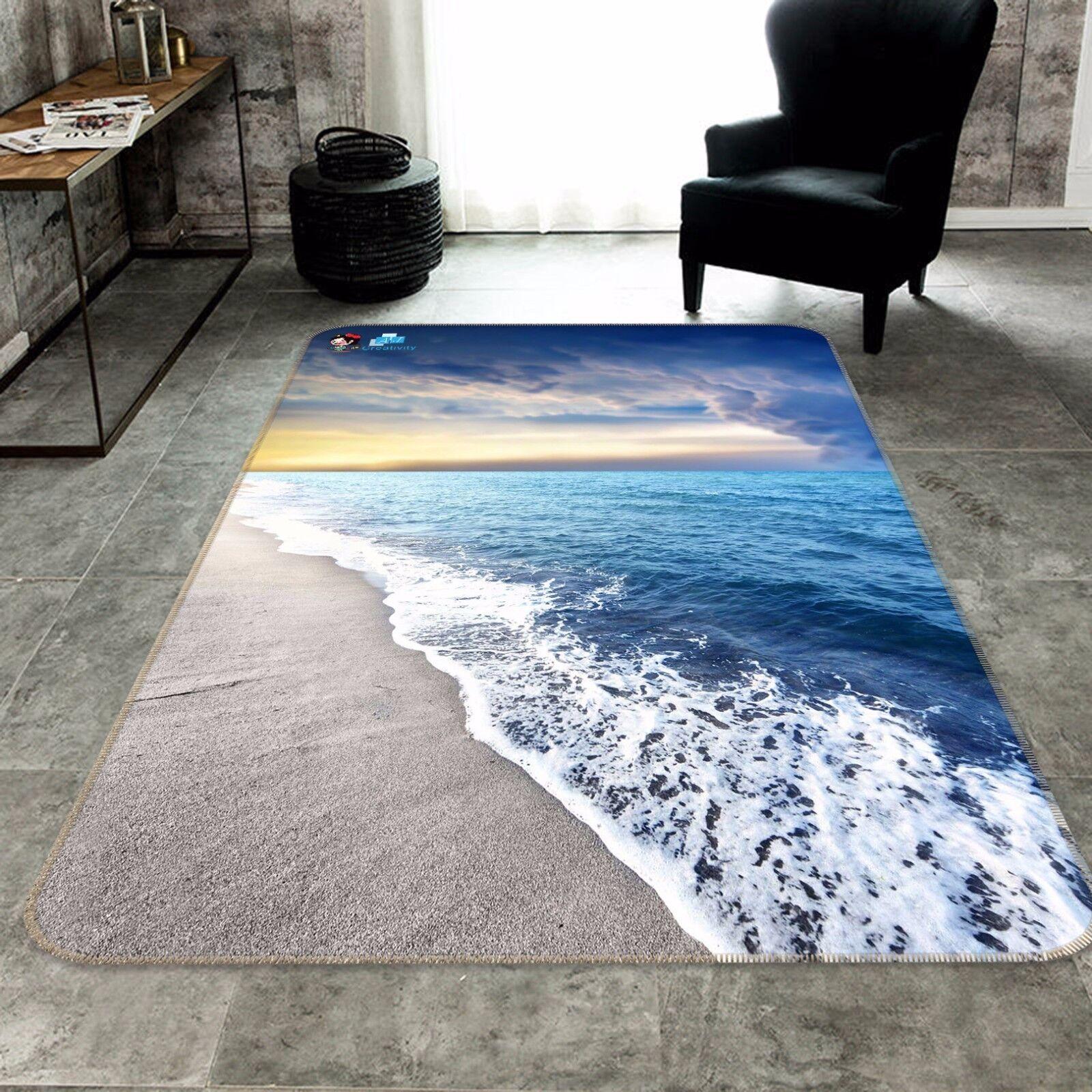 3D olas de playa Sky 424 Alfombra Colchoneta Antideslizante Alfombra De Sala Elegante De Calidad Foto Alfombra