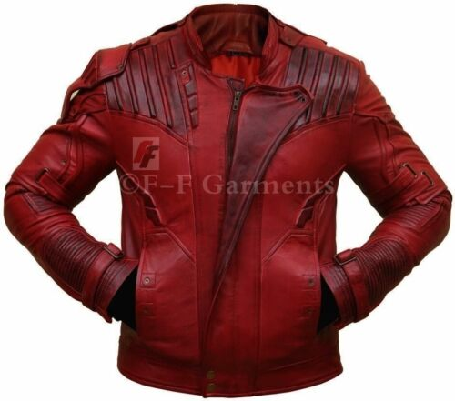 Guardians of the Galaxy 2 Star Lord Chris Pratt Red Real Leather Jacket