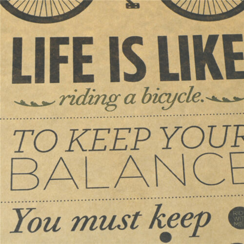 life is like riding a bicycle posters cafe bar decor  kraft papers wall sticODUS