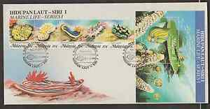 (F143Z)MALAYSIA 1988 MARINE LIFE STAMPS & MS ON 1 FDC. RARE