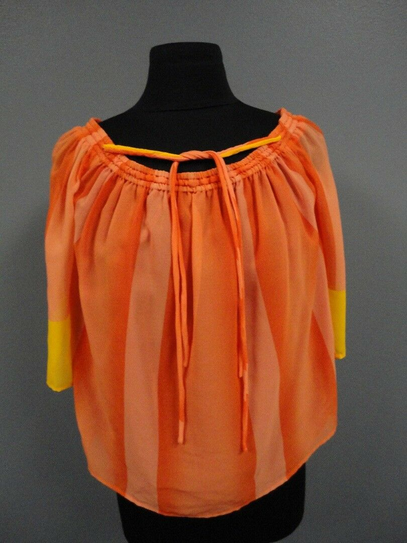 TRINK TURK NWT orange Yellow Lined Striped Off Shoulder Blouse Size XS EE7476