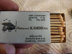 Rare-Vintage-Match-Box-Restaurant-Kambo-Ltee-Joliette-P-Q-Jean-Guy-Robert
