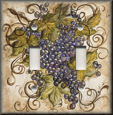 Metal Light Switch Plate Cover - Tuscan Kitchen Decor Purple Tuscan Grapes Decor