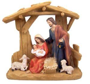saint josef jungfrau maria und kleinkind christ in krippe kunstharz set, 30.5cm | ebay