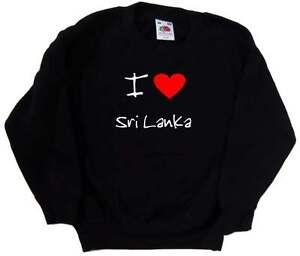 I Love Heart Sri Lanka Black Kids Sweatshirt
