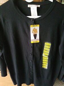 NWT-PHILOSOPHY-Women-039-s-SZ-Med-Black-3-4-Sleeve-Cardigan-Button-Sweater-MSRP-58