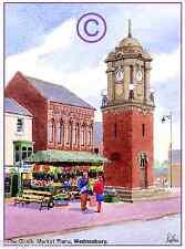 """WEDNESFIELD HIGH ST CHURCH WEST MIDS WATERCOLOUR ARTISTS PRINT ART CARD 8/""""x 6/"""""""