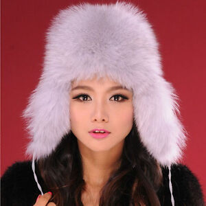 Russian Ushanka bomber Cossack hat 100% Fox Fur Silver gray Sold from USA