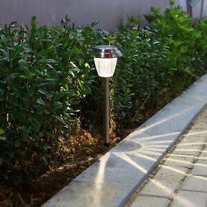 voona solar led outdoor lights 8 pack stainless steel pathway