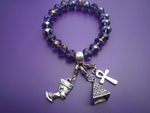 charm bracelet  Purple faceted charm carrier /& 3 Egyptian  clip on charms 20 cm