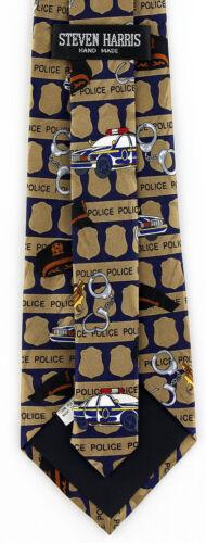 Police Badges Mens Necktie Cop Car Gun Law Enforcement Striped Blue Neck Tie
