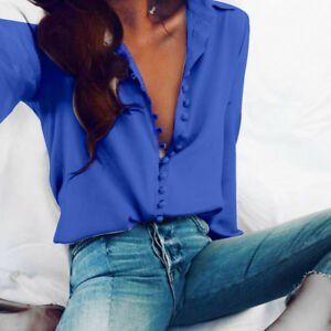 Fashion-Women-Button-T-Shirt-Solid-Long-Sleeves-Blouse-Casual-Lapel-Shirt-Tops-O
