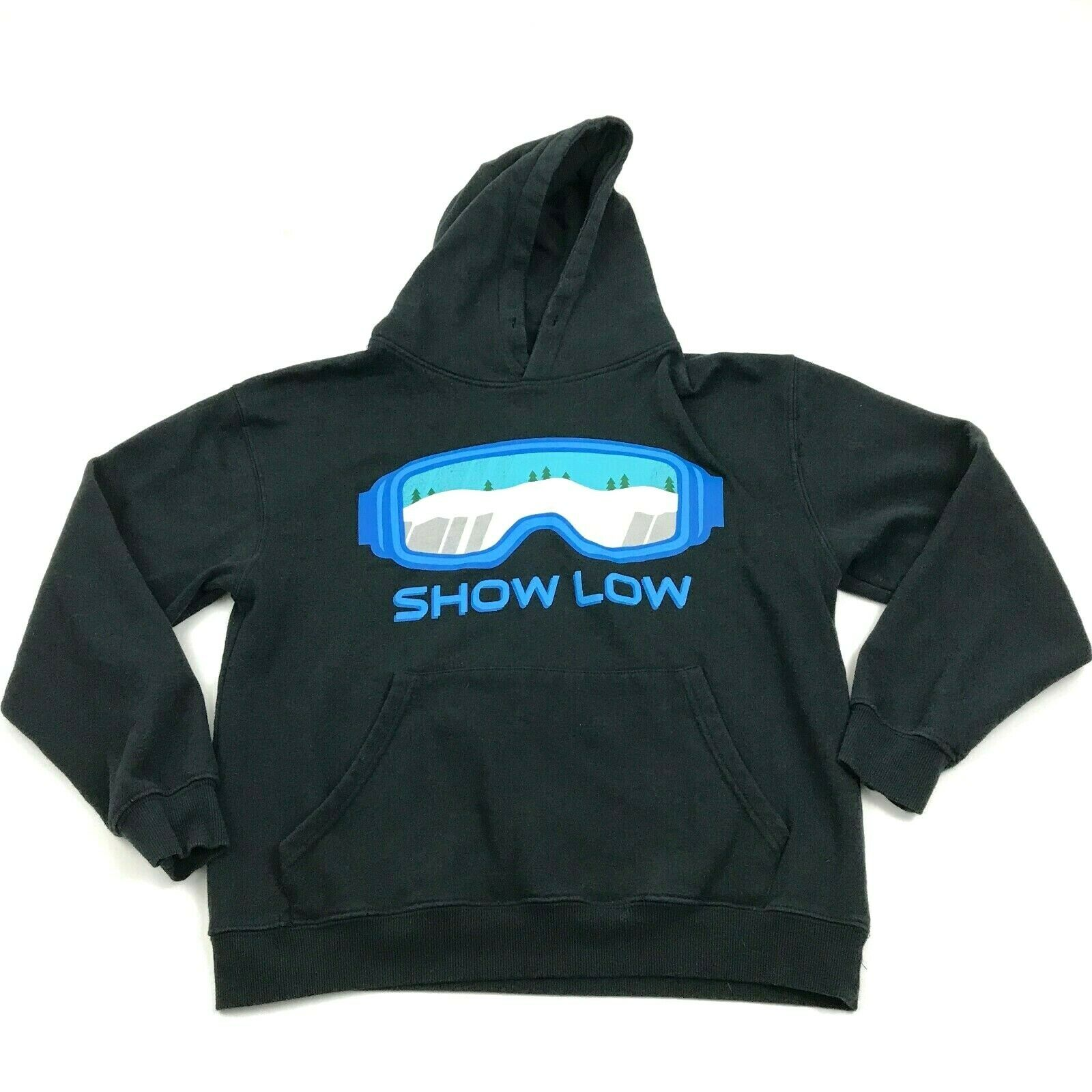 SHOW LOW Snow Hoodie Size Small S Black Sweatshirt Pullover Hooded Sweater Loose