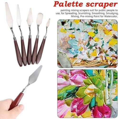 5Pcs//Set Artist Oil Painting Scraper Stainless Spatula Palette Cutter Art Tools