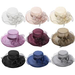 Womens Ladies Satin Dress Church Kentucky Derby Wide Brim Cap Anti-UV Beach Hats