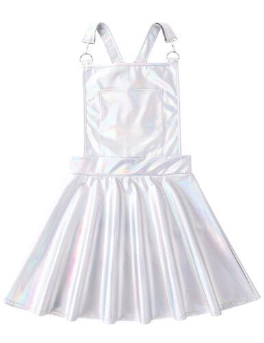 Women Shiny Dress Pleated Suspender Mini Skirt Metallic Costume Wetlook Clubwear