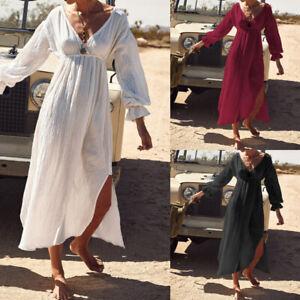 Belle-Femme-Col-V-Loose-Pronfond-Manche-elastique-a-Longu-Party-Dress-Robe-Plus