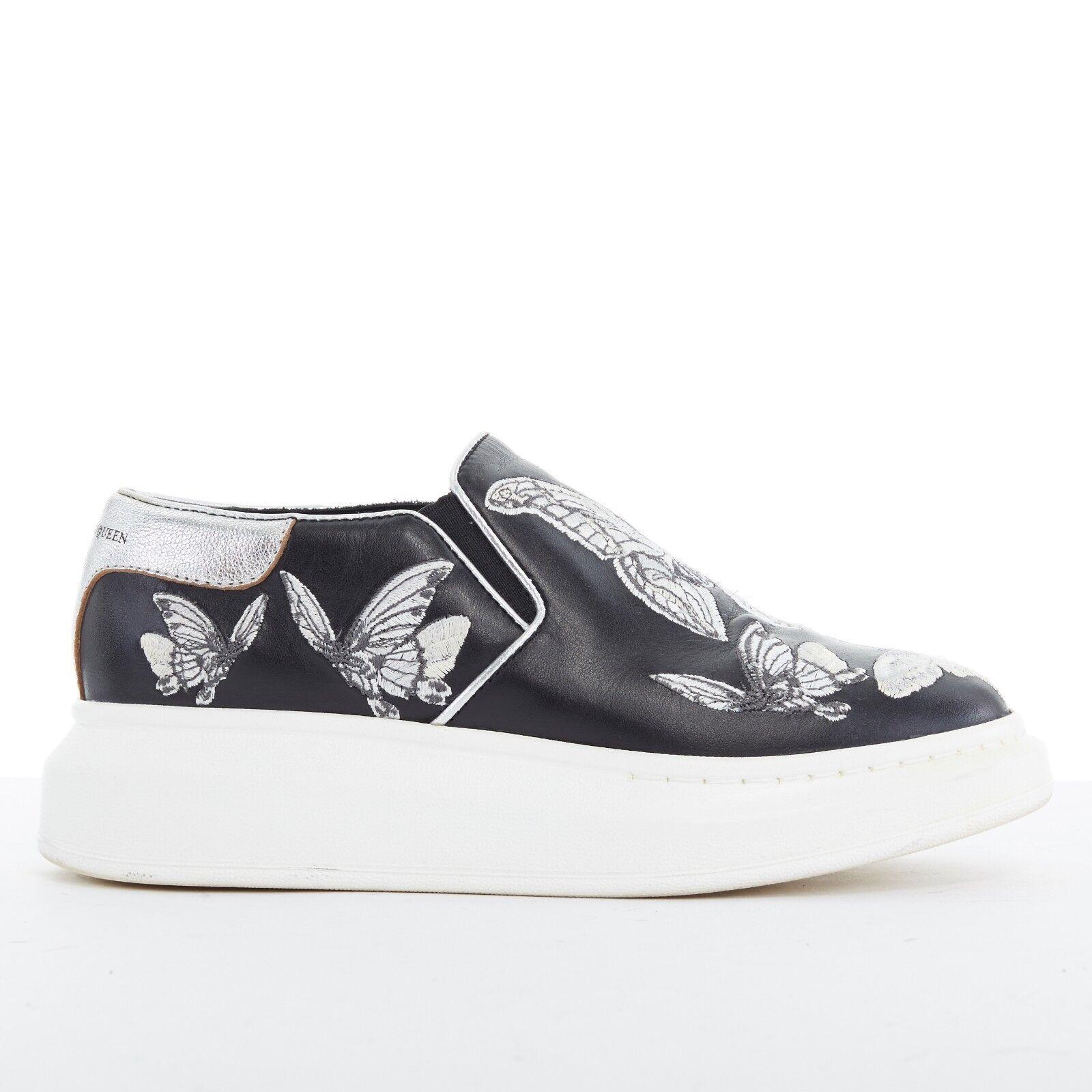ALEXANDER MCQUEEN butterfly embroidery black leather platform sneaker EU36.5