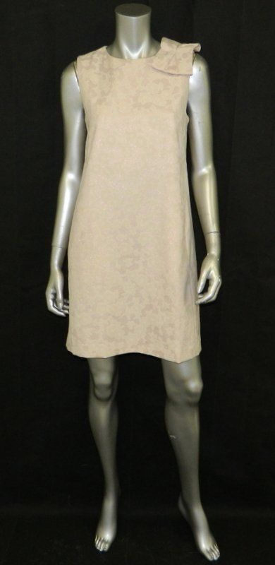 TAHARI NWT bluesh Pink Metallic Embossed Sleeveless Zip Sheath Dress sz 8