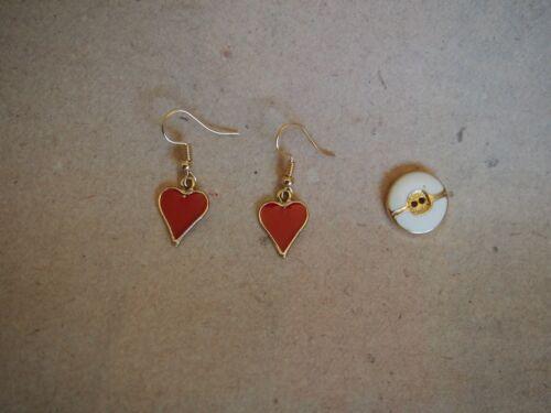 Alice im Wunderland Valentinstag Poker *Neu* Ohrringe Herz Ass gold