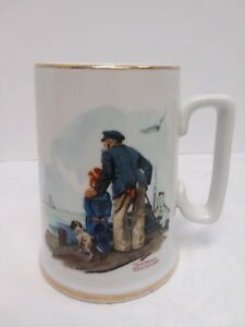 89e684b28aa Details about Norman Rockwell Collector's Tankard Coffee Mug 1985 'Looking  Out to Sea'