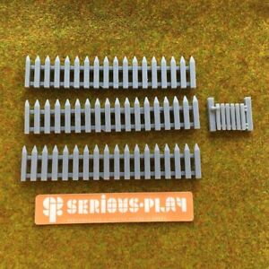 Picket Fences + Gate - Model Resin Oo Scale Railway Walling Miniature Wargaming