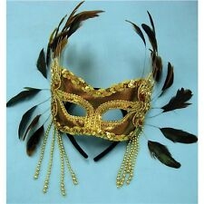Gold Velvet Eye Mask With Feathers - Black Feather Masquerade New