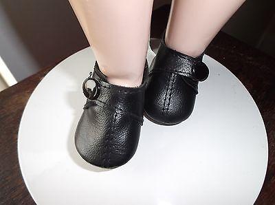 55mm Vinilo Negro Muñeca Zapatos Con Broche Cierre