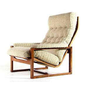Retro-Vintage-Danish-Design-Rosewood-amp-Wool-Lounge-Easy-Chair-Armchair-60s-70s